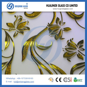 Manufacturer 4mm ice flower pattern decorative mirror gold glass for door